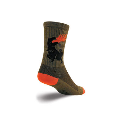SOCK GUY Wool Dinosaur Crew Socks