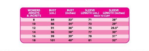 Altura ladies cycling jerseys size chart